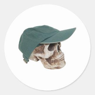SkullBaseballCap032709 Classic Round Sticker