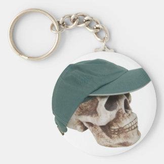 SkullBaseballCap032709 Keychain
