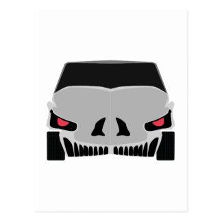 Skulled car design postcard