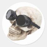 SkullGoggles073109 Pegatinas Redondas