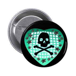 skullie heart green 2 inch round button