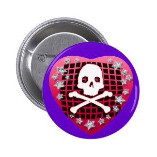skullie heart red 2 inch round button