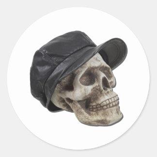 SkullLeatherDrivingCap090411 Classic Round Sticker