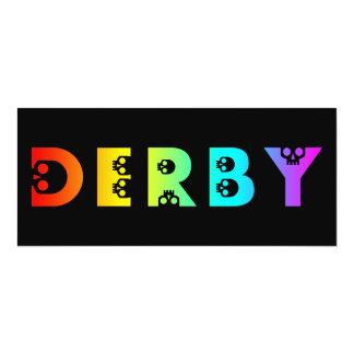"""skullphabet de derby del arco iris invitación 4"""" x 9.25"""""""