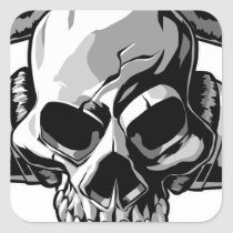 skull, music, vector, audio, stylish, fleek, headphones, style, dead, beat, horror, Sticker with custom graphic design