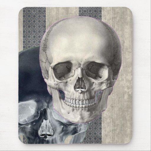 Skulls Against Stripes Mouse Pad