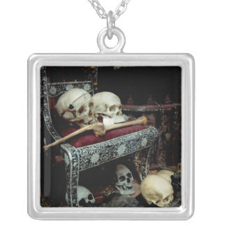 Skulls and Bones on the Throne Square Pendant Necklace