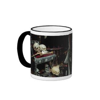 Skulls and Bones on Throne Ringer Coffee Mug