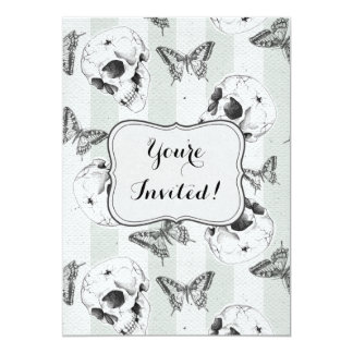 Skulls and butterflies any purpose party card