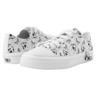 Skulls and butterflies goth pattern printed shoes