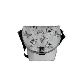 Skulls and butterflies courier bags