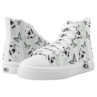 Skulls and butterflies printed shoes