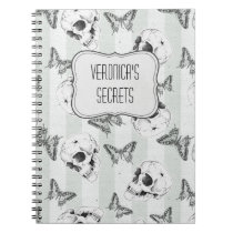 Skulls and butterflies with name option notebook