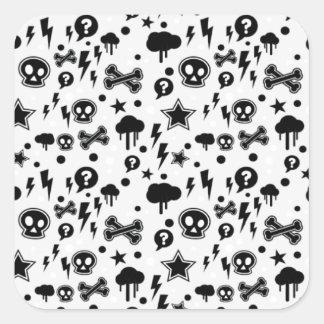 Skulls And Cross Bones Clouds Lighting Bolts Square Sticker
