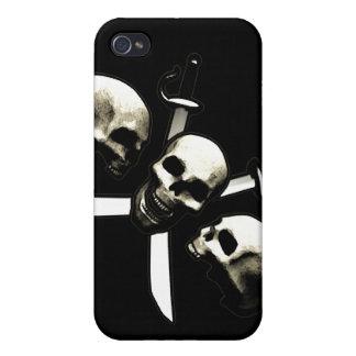 Skulls and Cross-Swords (Black) iPhone 4 Case