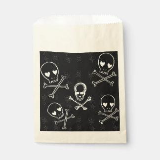 skulls and crossbones black favor bag