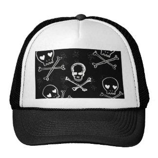 skulls and crossbones black trucker hat