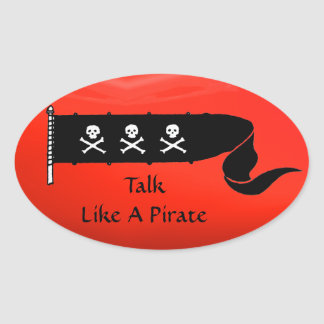 SKULLS AND CROSSED BONES  RED BLACK PIRATE FLAG OVAL STICKER