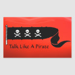 SKULLS AND CROSSED BONES  RED BLACK PIRATE FLAG RECTANGLE STICKERS