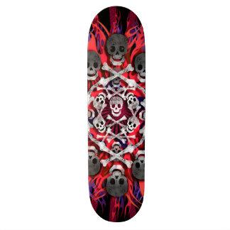 skulls and flames skate board