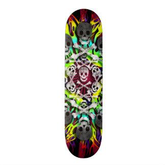 skulls and flames skateboard