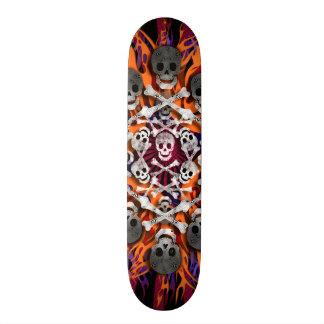 skulls and flames skateboard deck