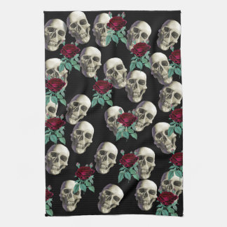 Skulls and Flowers Kitchen Towel