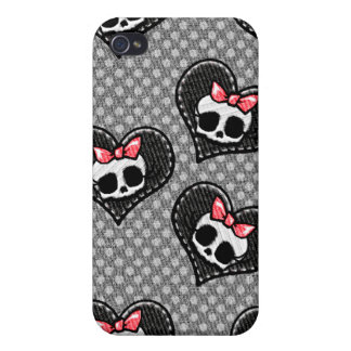 Skulls and Hearts Black iPhone 4 Cover