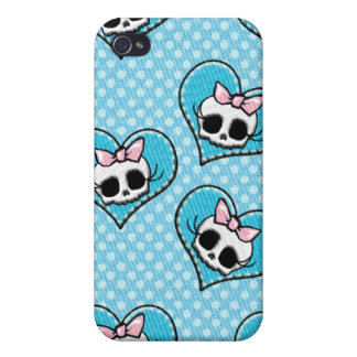 Skulls and Hearts Blue iPhone 4/4S Case