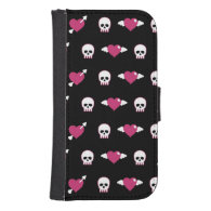 Skulls and hearts galaxy s4 wallet case