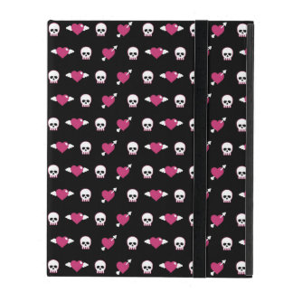 Skulls and hearts iPad folio case
