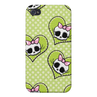 Skulls and Hearts Lime iPhone 4 Cover