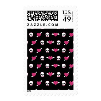 Skulls and hearts postage stamps