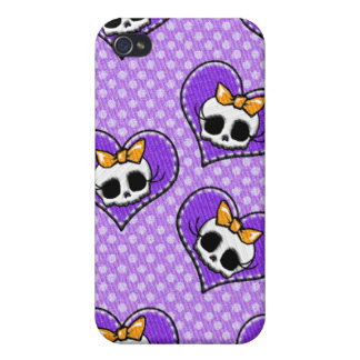 Skulls and Hearts Purple iPhone 4/4S Cover