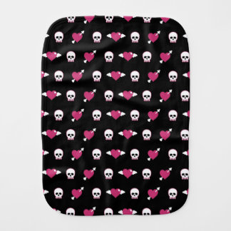 Skulls and hearts burp cloth