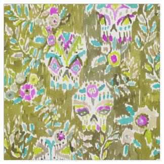 Skulls and Leaves Watercolor Print Fabric