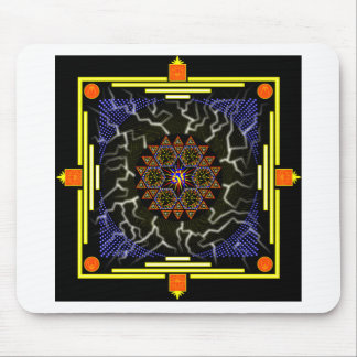 Skulls and Lotuses Mandala, Lightning Bolts, Black Mouse Pad