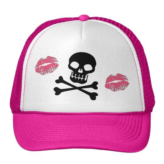 Skulls and Pink Kisses Trucker Hat