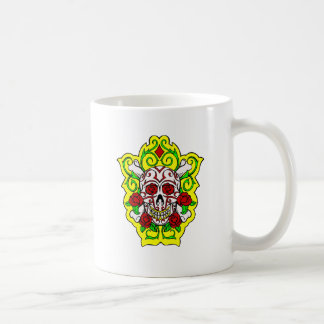 skulls and roses coffee mug