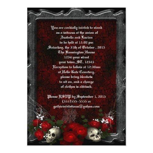 Skulls and Roses Goth Wedding 5x7 Paper Invitation Card