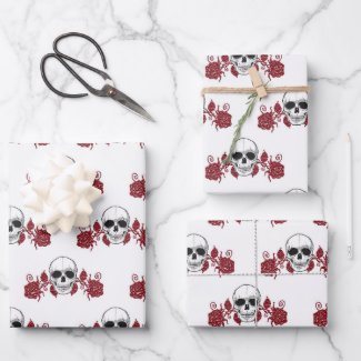Skulls and Roses Gothic Wrapping Paper