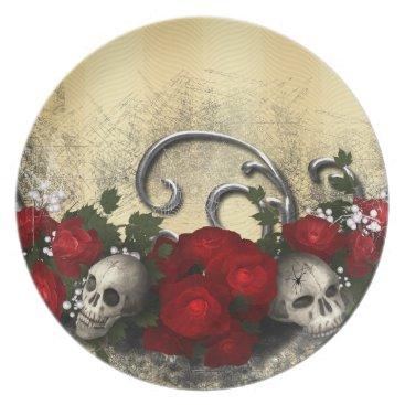 Halloween Themed Skulls and Roses Melamine Plate