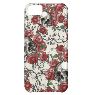 Skulls and Roses Pattern Cover For iPhone 5C