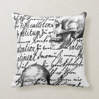 """Skulls and script spell out """"Liebesbrief"""" or Love Throw Pillows"""