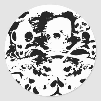 skulls and skeletons classic round sticker