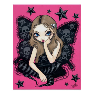 Skulls And Stars Art Print pink gothic fairy