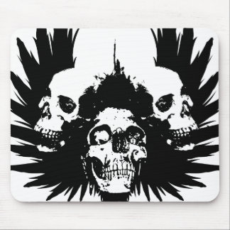 Skulls and Wing - Black Mouse Pad