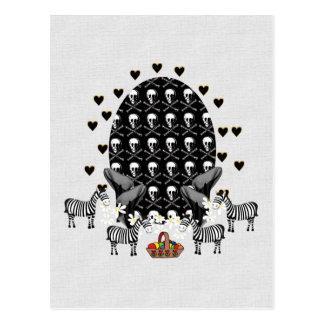 Skulls and Zebras Easter Egg Postcard