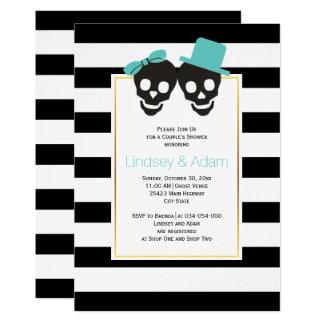 Skulls aqua blue Halloween wedding couples shower Invitation