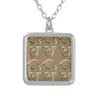 Skulls background gold square pendant necklace